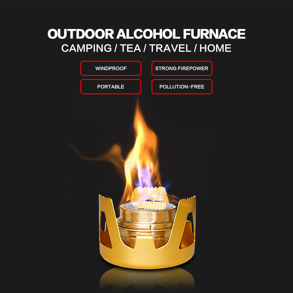 High Quality Portable Ultra-Light Aluminum Alcohol Stove Outdoor Camping Furnace with Two Colors Golden and Green AF1001(China (Mainland))