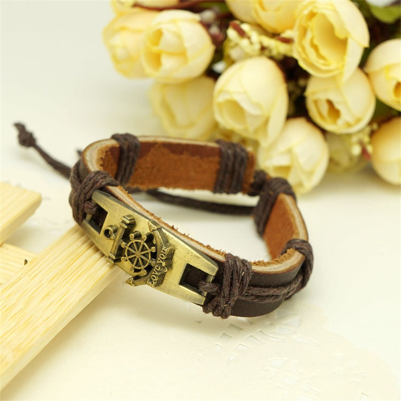 Good Gift Female or Mens Charm Accessories Vintage Color Anchor & Rudder Pattern Bracelets & Bangles Pulseiras Fashion Style(China (Mainland))