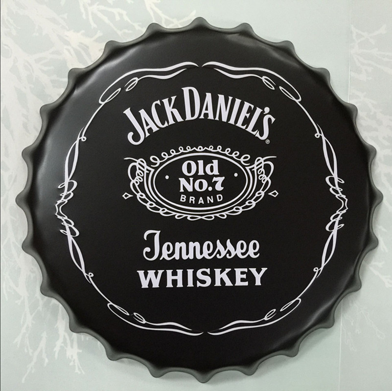 Jack Daniel Old NO 7 Brand Jennessee Whiskey Beer Cap Round Beer Sign Vintage Tin Sign Home Decor For Bar Pub Coffee(China (Mainland))