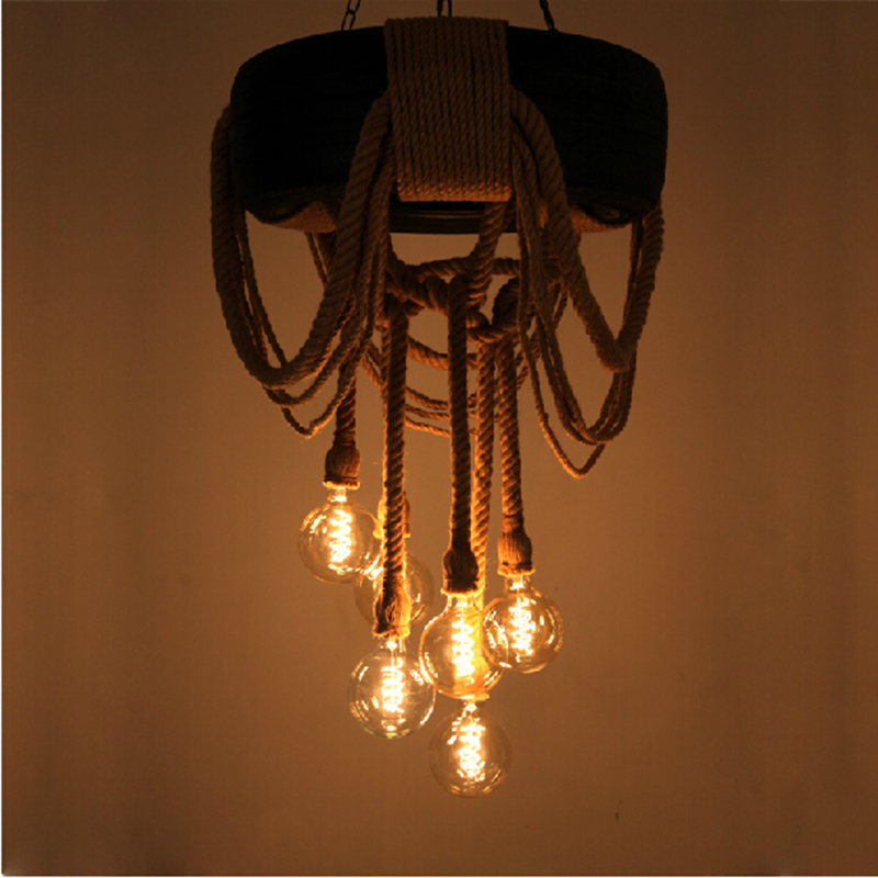 original Vintage industrial style light rope retro edison bulb lamps E27 wicker pendant wrought iron lights hotel bar fixtures(China (Mainland))