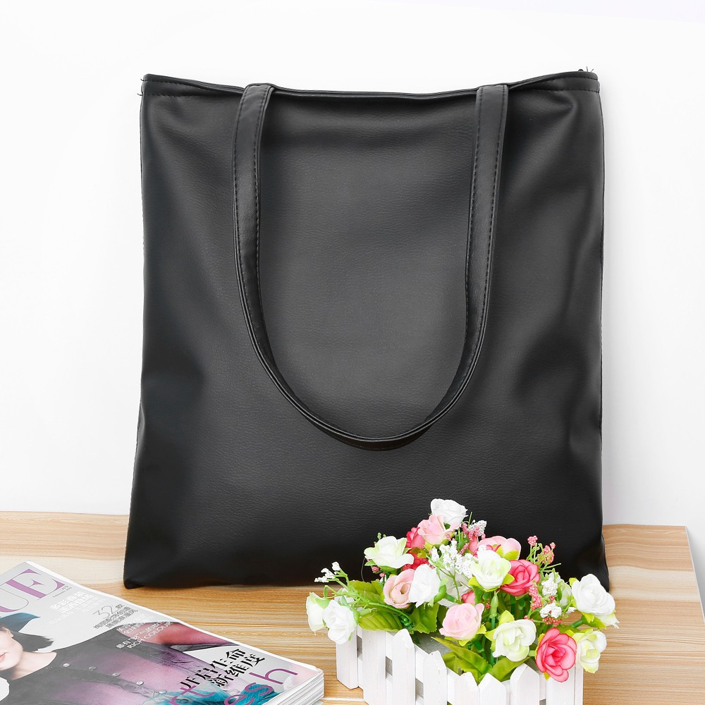 New Fashion Brand Black Leisure Lady Handbag Shoulder Bag PU Leather Women Tote Purse For Lady Free Shipping(China (Mainland))