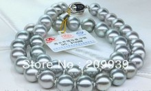 """huij 001125 HUGE 18""""16MM NATURAL SOUTH SEA GENUINE PERFECT SILVER GRAY PEARL NECKLACE 14K(China (Mainland))"""