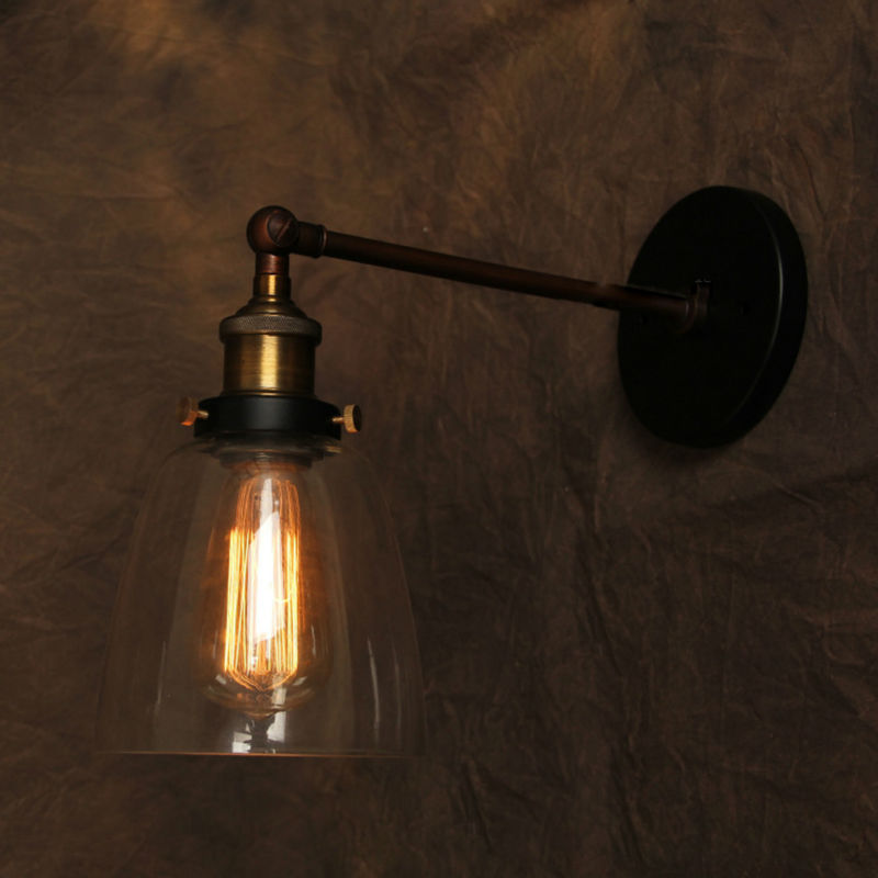 Wall Mounted Industrial Lamp : Vintage Wall Lamp American Style Industrial Edison Lamps Beside Mounted Glass Art Deco RH Loft ...