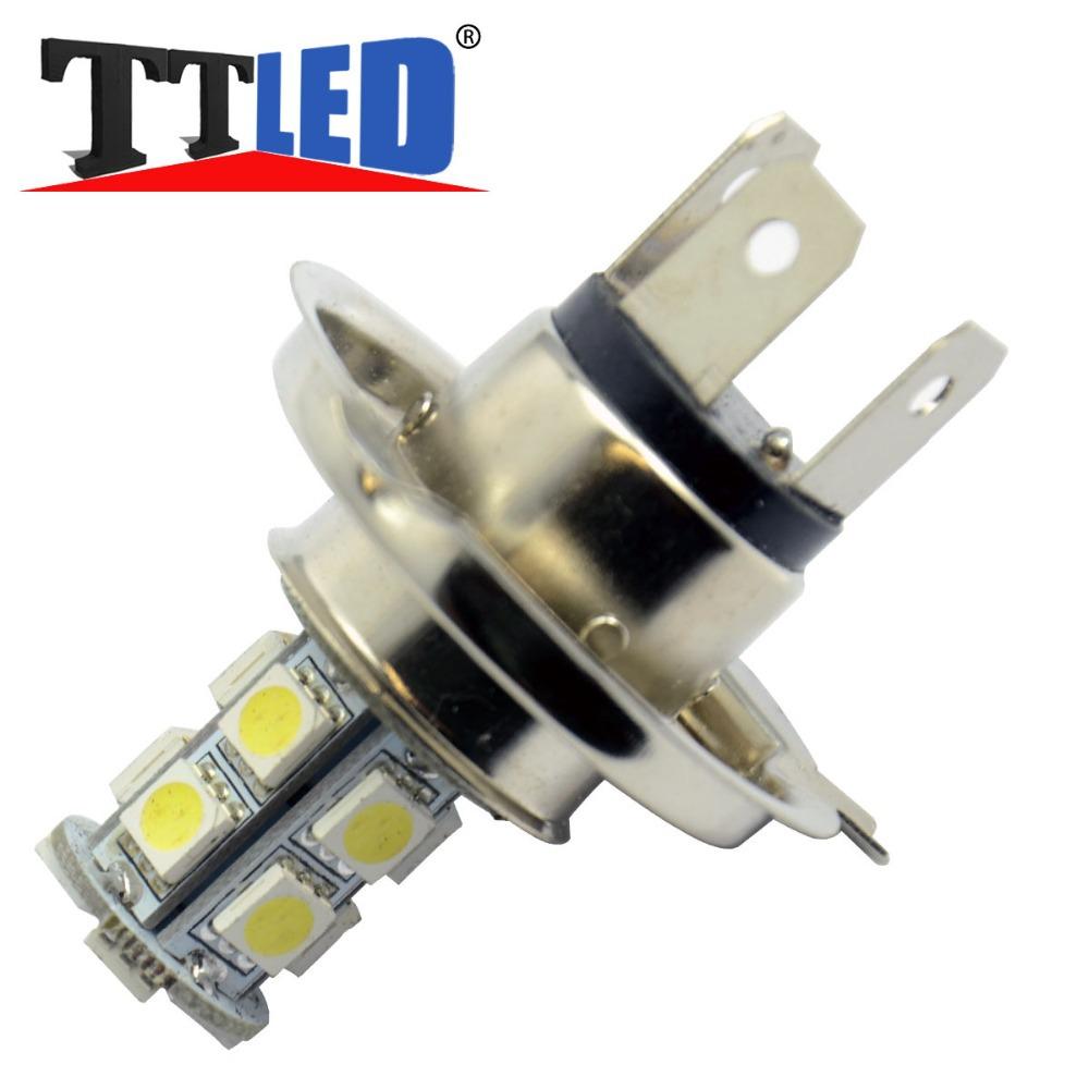 Wholesale!!! 50X H4 13 SMD 5050 LED Car Daytime Driving led h4 Headlight Fog light Lamps bulb White Blue #TJ07-2(China (Mainland))