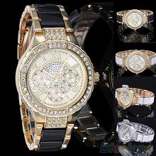 Women s Fashion Roman Numerals Rhinestone Alloy Analog Quartz Dress Wrist Watch 4E8Y