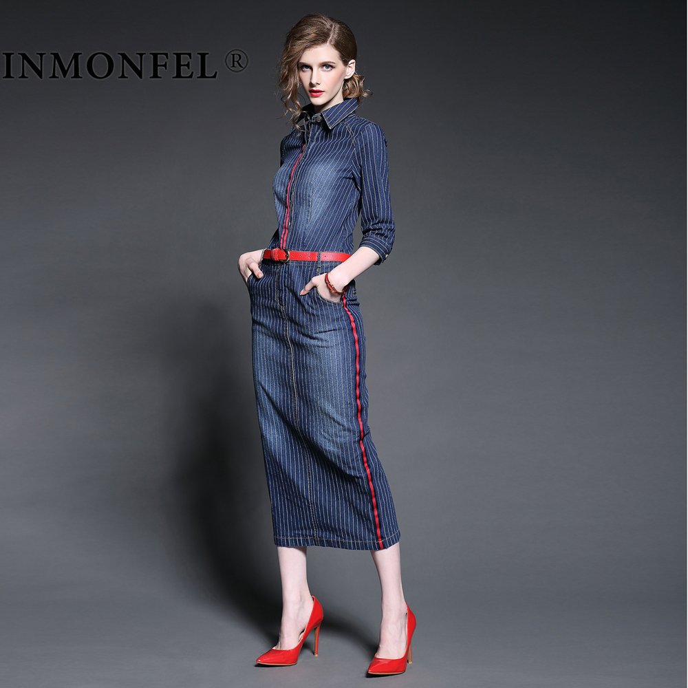 Fashion autumn style denim dresses new 2015 womens clothing  slim Three Quarter placketing medium-long denim one-piece dressÎäåæäà è àêñåññóàðû<br><br>