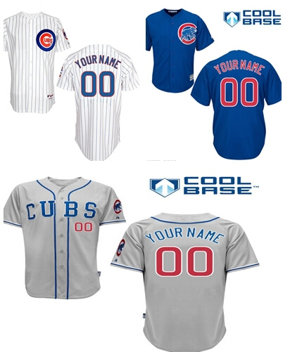 2015 TOP Free Personalized Jersey Chicago Cubs Jersey White Gray Blue Baseball Jersey Customize(China (Mainland))