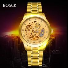2016 Luxury Brand BOSCK Men's Skeleton Watch Fashion Full Steel Strap Gold Automatic Mechanical Watches Clocks Dress WristWatch