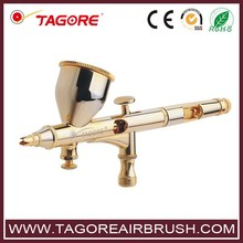 """Brand """"Tagore"""" TG180G Golden 0.2MM 160MM 9CC Gravity Feed Mini Dual Action Airbrush for Makeup Cakes Painting(China (Mainland))"""