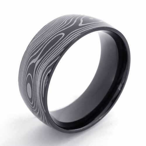 Punk Jewelry Stainless Steel Ring Simple Slippy Black Circle with Wooden Grain Men Rings Exaggerated Engagement Rings 20921(China (Mainland))