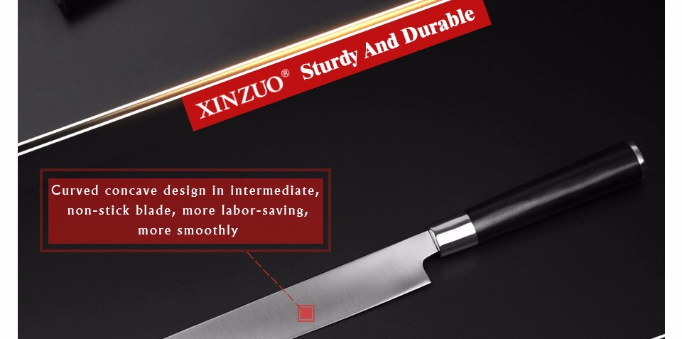 Buy XINZUO 9.5 inch sashimi knife with Scabbard Germany steel cleaver kitchen knives One-sided chef knives sushi knife free shipping cheap