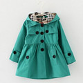 2016 Girls Trench Coat Cardigan Jackets For Girls Spring And Autumn Cotton England Style Princess Girls