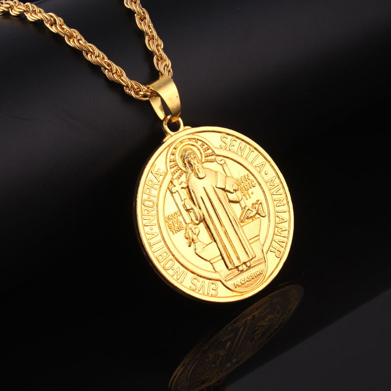 Jesus Piece Pendant Christian Long 80CM Chain Jewelry Gift Wholesale 18K Gold Plated Cross Necklace Men(China (Mainland))