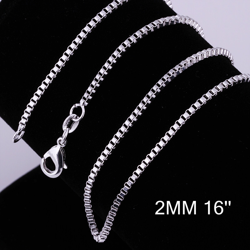 about 2MM 16-24 inches Box Necklace for Women Men 925 Sterling Silver Jewelry Silver Female Male Necklace High Quality CN04-2(China (Mainland))