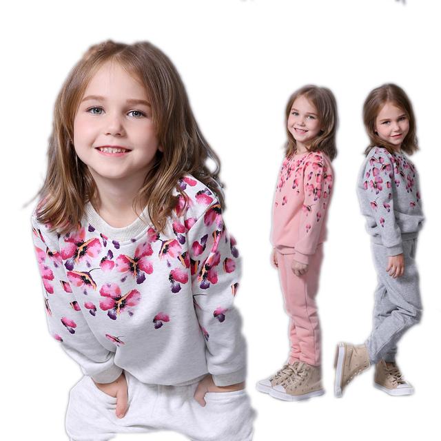 Весна осень девушки одежда набор цветочный печатных дети костюм установить случайный ...