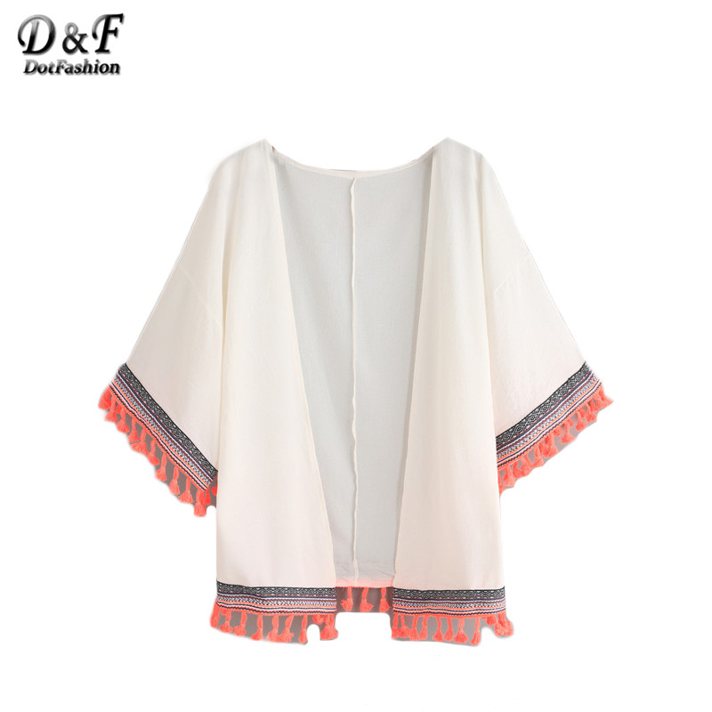 Dotfashion White Woven Tape and Tassel Trimmed Chiffon Tops Women Casual Half Sleeve Patchwork Beach Loose Kimono(China (Mainland))