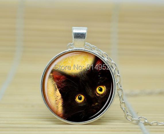 10pcs Black cat Pendant Black cat necklace Black cat jewelry glass Cabochon Necklace A2093(China (Mainland))