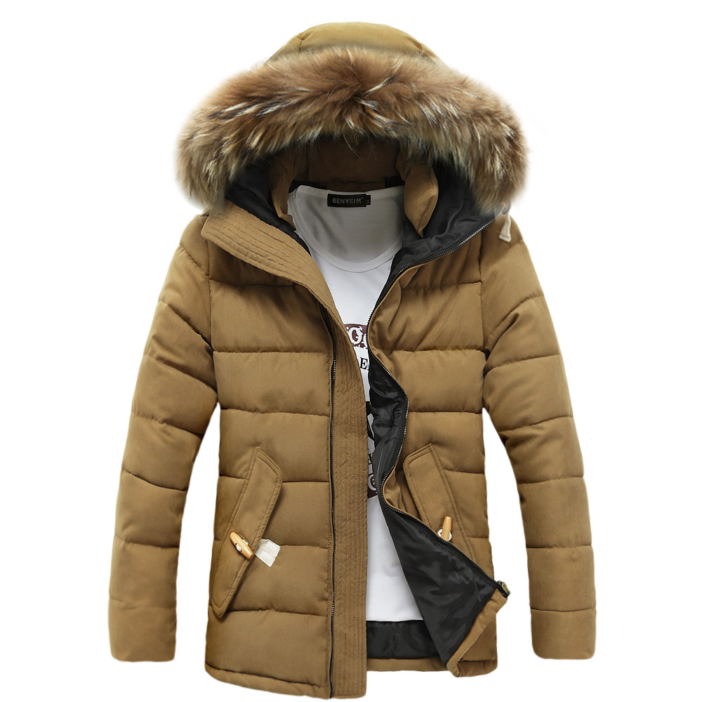 2015 Winter Men Cotton Padded Coats Khaki Casual Hooded Jackets Latest Thichen Fur Hooded Clothes ZMX013