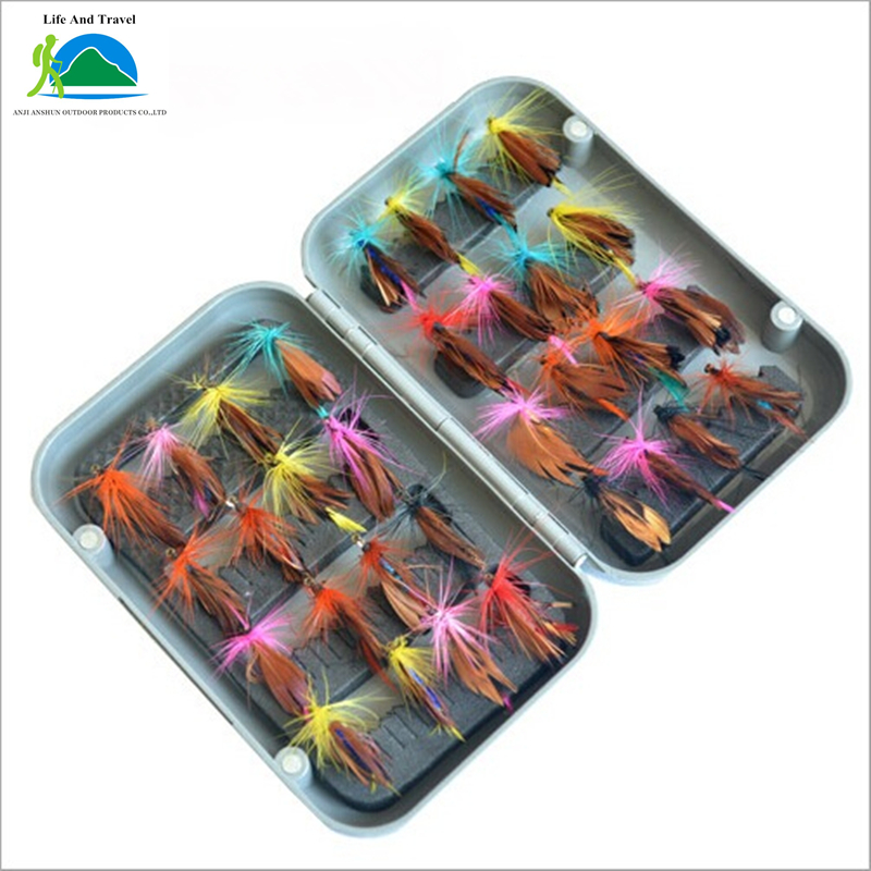 new 32pcs/sets fly fishing lure set Artificial Insect bait trout fly fishing hooks tackle with case box(China (Mainland))