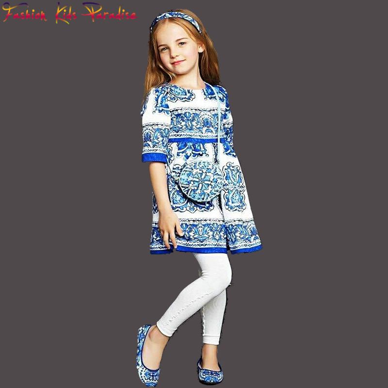 2015 Winter Girls Dress Blue Majolica Print Baby Girl Clothes Kids Dress Girls Dresses Dobby Brand Princess Dress for Girls(China (Mainland))
