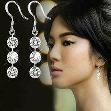 New Hot Bling Crystal 925 Sterling Silver GP Modish Dangle Tassle Earring Party Hot Jewelry free shipping(China (Mainland))