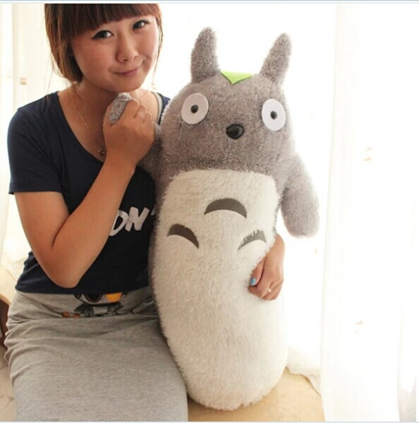 lovely Totoro plush toy stuffed cylindrical totoro pillow birthday gift about 60cm(China (Mainland))