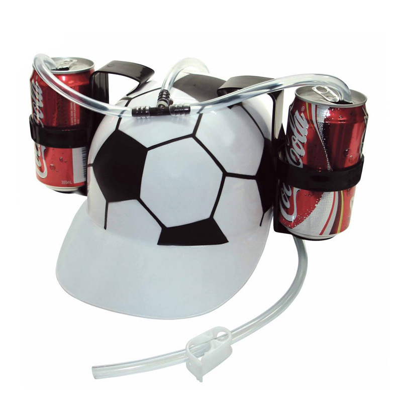 Cool Adjustable Football Straw Drinking Helmet for Fanatics Crazy Sport Fans Party Holiday Game Beer Soda Dual Can Holder(China (Mainland))