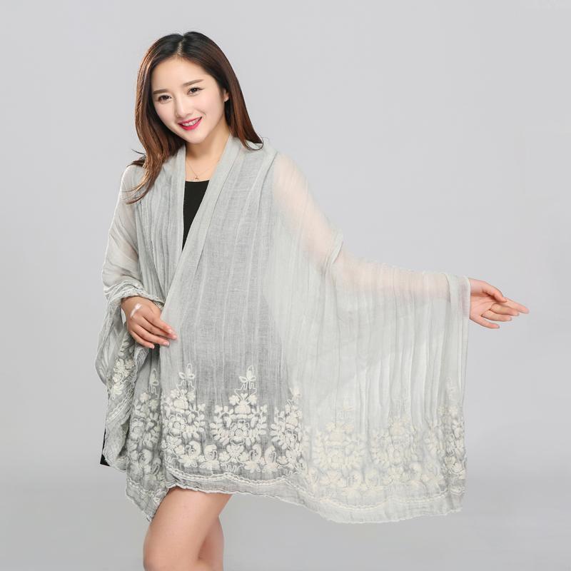 Top Winter Autumn spring Warm Soft Long Embroidery cotton Voile Scarf Wrap Shawl Stole abaya niqab scarf hijab wholesale jda002(China (Mainland))