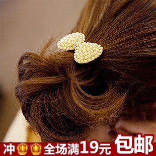 Free shipping 2pcs/lot Exquisite women hair bands Nice hair holders Elegant hair Accessories Fashion pearl crystal bow hair rope(China (Mainland))