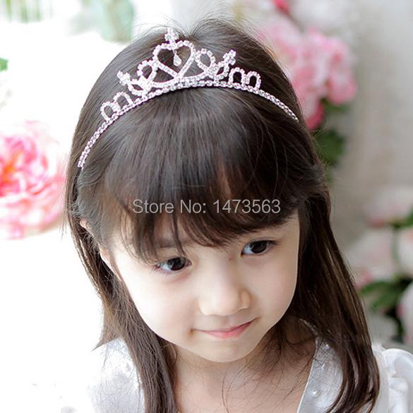 New 2014 Cute Children Kids Girls Rhinestone Princess Hair Band Crown Headband Tiara Freeshipping DJ00056(China (Mainland))