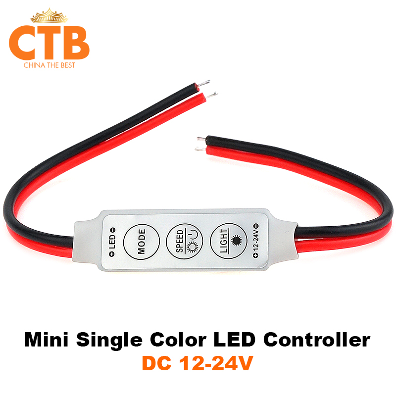 Dimmer LED Strip RGB Controller DC 12V 24V Mini Dimmer LED Single Color Controller for 5050 3528 5730 LED Strip Light(China (Mainland))