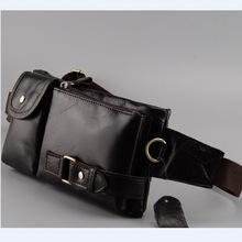 Fashion vintage waist packs bag men genuine cowhide leather waist bag leather small bags for male sport packs belt bag R012(China (Mainland))