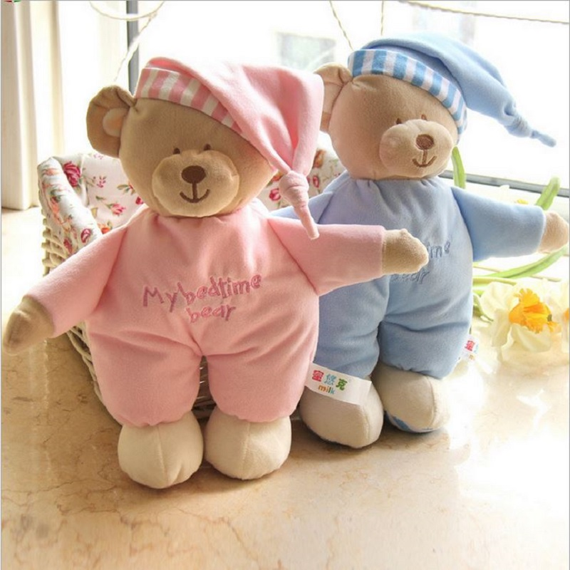 Hot Baby Sleeping Bear with Tags My Bedtime Bear Kawaii Soft Baby Toys High Quality Blue Pink Doll #ML0211(China (Mainland))