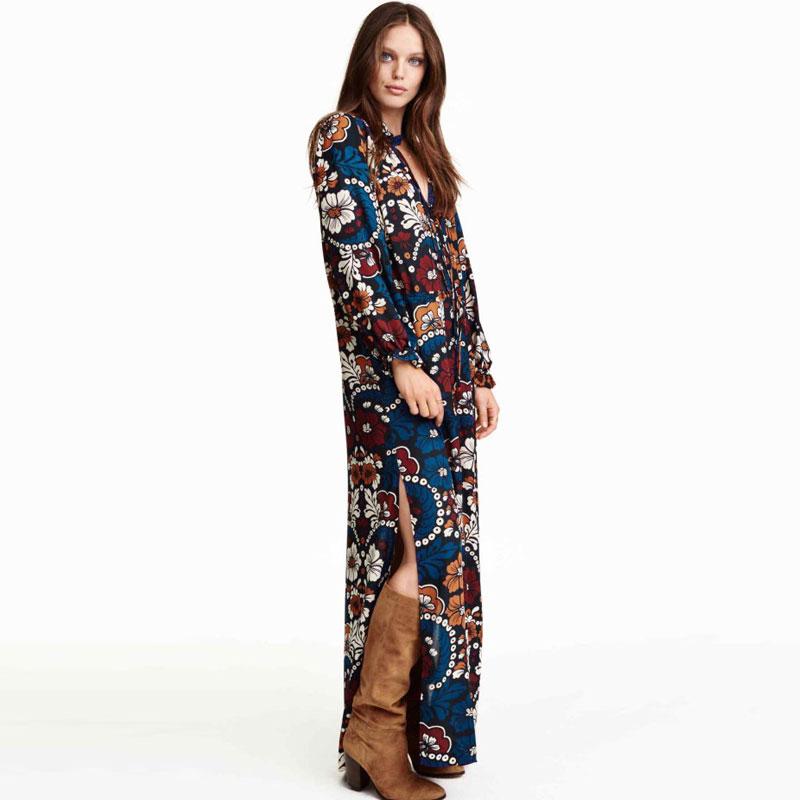 Fashion Vestidos 2016 Women Summer Chiffon Dress Floral Print Long Maxi Dresses Long Sleeve Loose Women's Beach Bohemian Dress