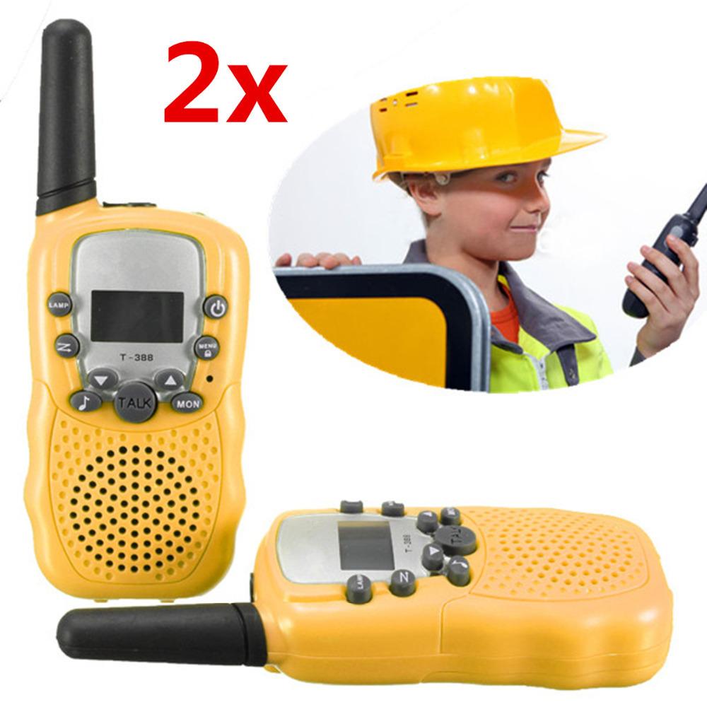 T-388 1 Pair Dual Yellow Portable Mini LCD Adjustable 5KM Multi Channels 2-Way UHF Car Auto Radio Wireless Travel Walkie Talkie(China (Mainland))