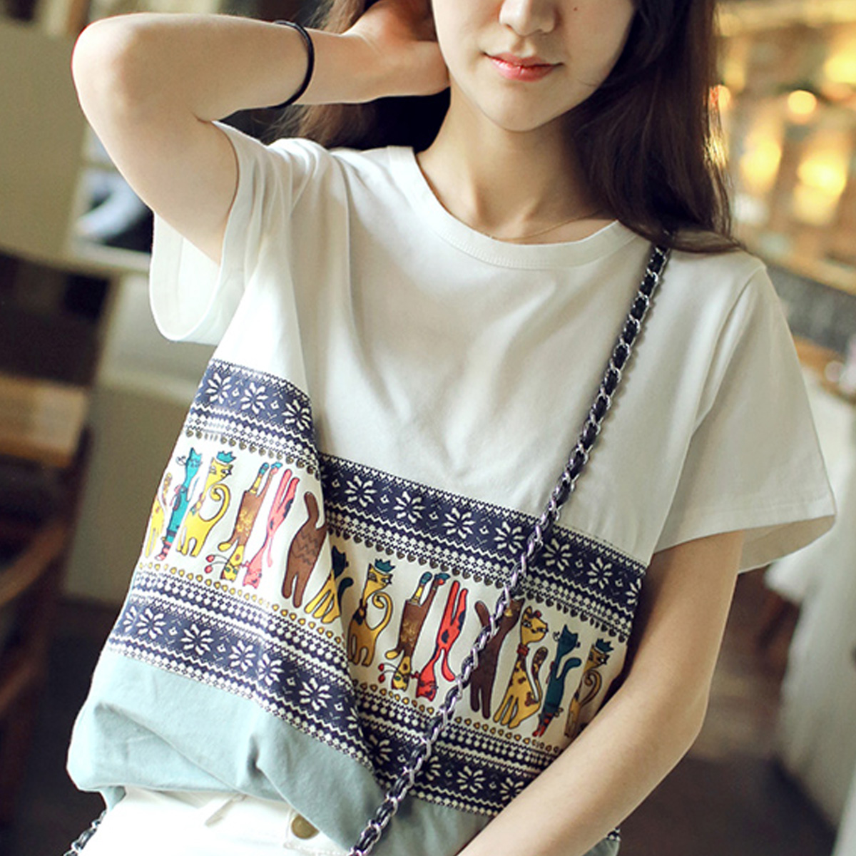 2015 famous brand women 100 cotton cartoon shirt loose t for Cute japanese t shirts