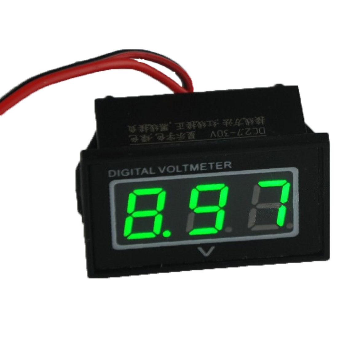 High Quality Green LED Waterproof Monitor 12 Volt Battery Meter 2.7-30V DC Auto Gauge Digital Voltmeter(China (Mainland))