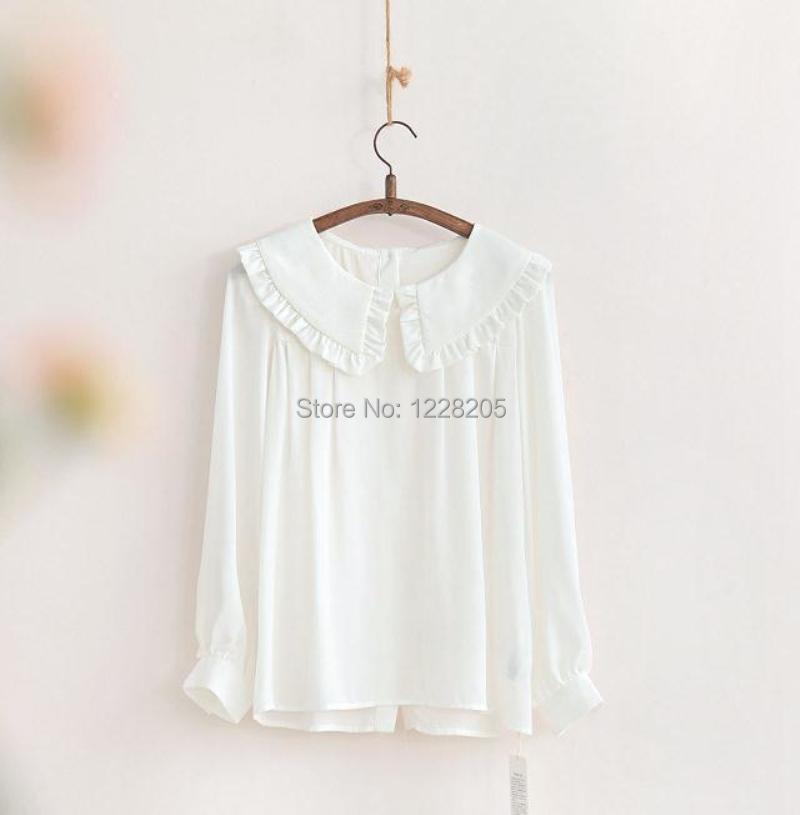 White cotton blouse peter pan collar white frilly blouses for White cotton shirt peter pan collar