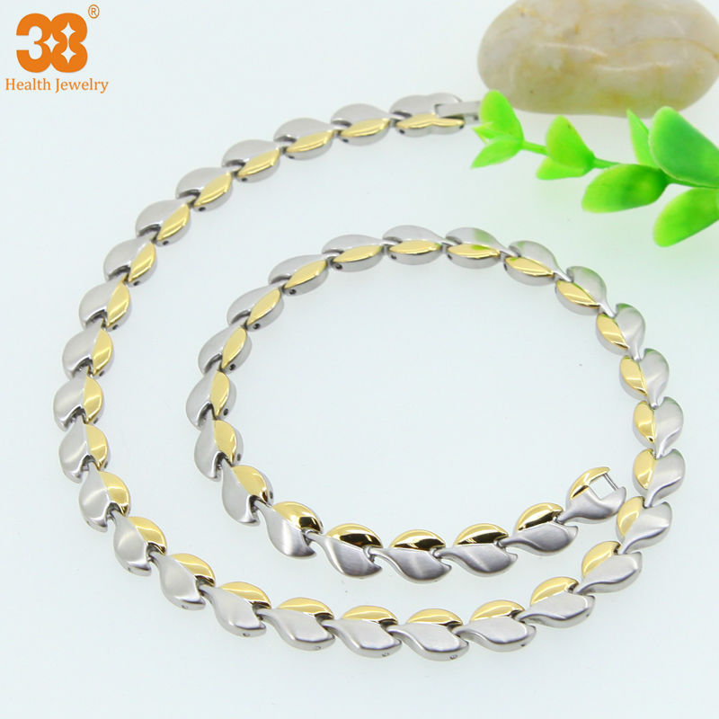 24K Gold Chain Mens Necklace Silver Stainless Steel Necklaces Fashion Jewelry Health Necklace For Women Men(China (Mainland))