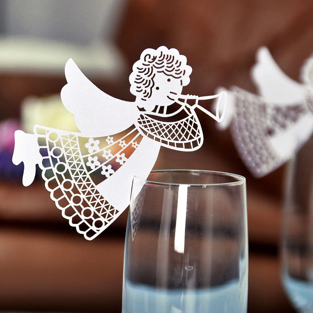 50pcs new flying angel laser cut DIY wine glass cup paper card table place name cards