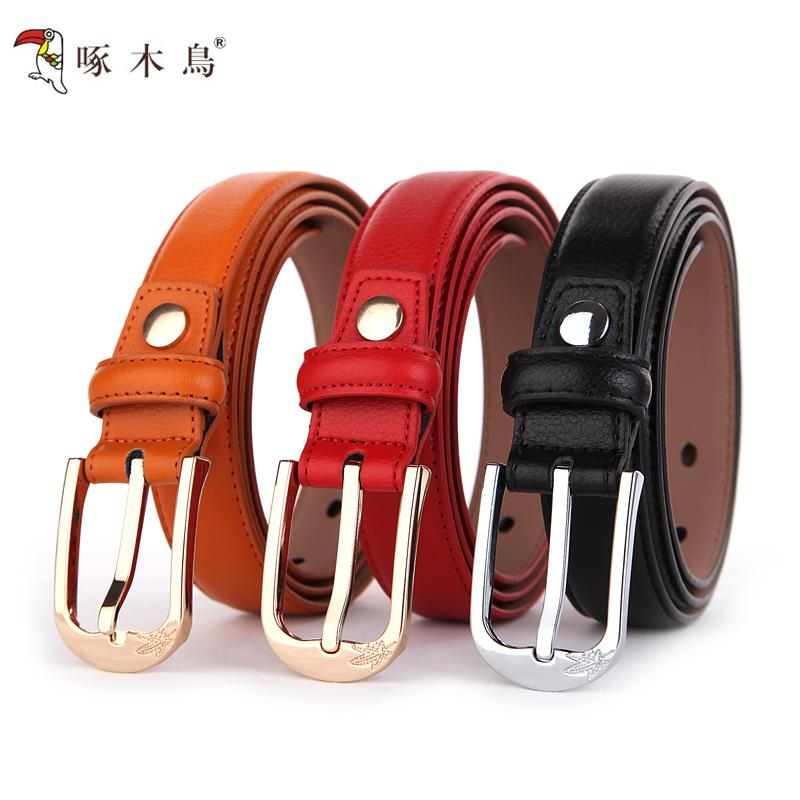 Woodpecker-pin female ladies leather belts buckle leather belt fashion simple Korean version of tide products(China (Mainland))