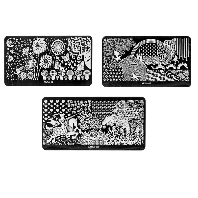 3pcs Mulit Designs Nail Art DIY Image Stamp Stamping Plates Manicure Template(China (Mainland))