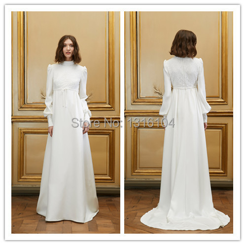 Compare prices on celtic wedding gowns online shopping for Long sleeve casual wedding dresses