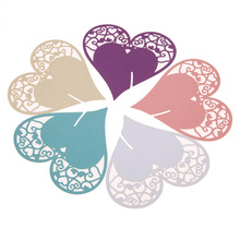 50pcs Heart-shape DIY Place Escort Wine Glass Cup Paper Card for Wedding Party Home Decorations 5 Colors Name Cards Table Deco(China (Mainland))