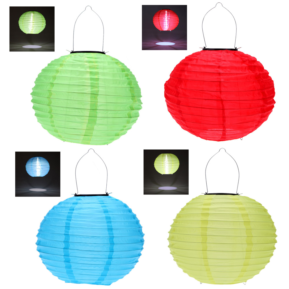 "10"" Solar Powered LED Light Chinese Nylon Fabric Lantern Lamp Lighting for Garden Outdoors Blue/Red/Yellow/Green(China (Mainland))"