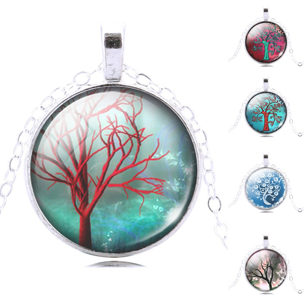 white life tree chain necklace women necklace glass cabochon necklace pendant necklace art picture silver jewelry fashion 2014(China (Mainland))