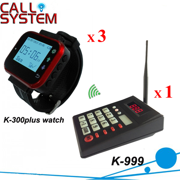 Wireless Queuing System Fast Food Restaurant Equipment 433.92MHZ Wrist Paging (1 keypad+3 watch)(China (Mainland))