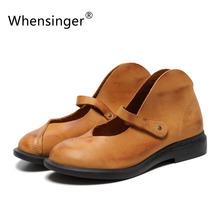 Whensinger 2016 Women Spring Summer Female Shoes Casual Solid Plain Round Toe Genuine Nubuck Leather Elegant Fashion 7888(China (Mainland))