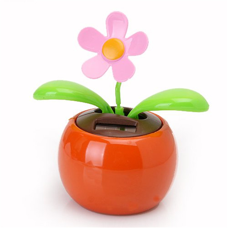 New Hot Sale Home Decorating Solar Power Flower Plants Moving Dancing Flowerpot Swing Solar Car Toy Gift(China (Mainland))