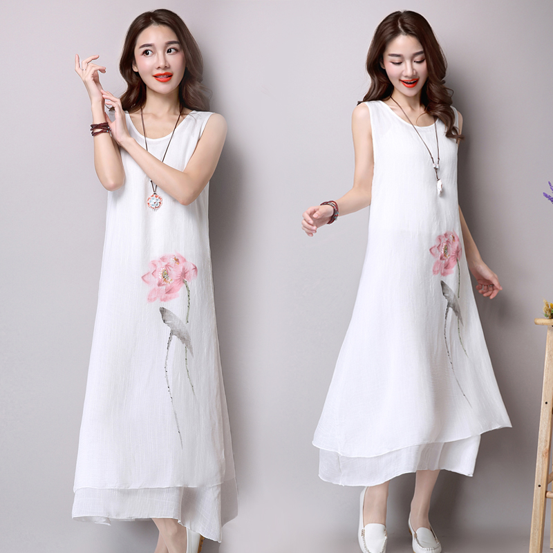2016 Printing Ink Cotton Loose Thin Dress Female Temperament Casual Dress Plus Size Women Clothing Sexy Dress Office Dress(China (Mainland))